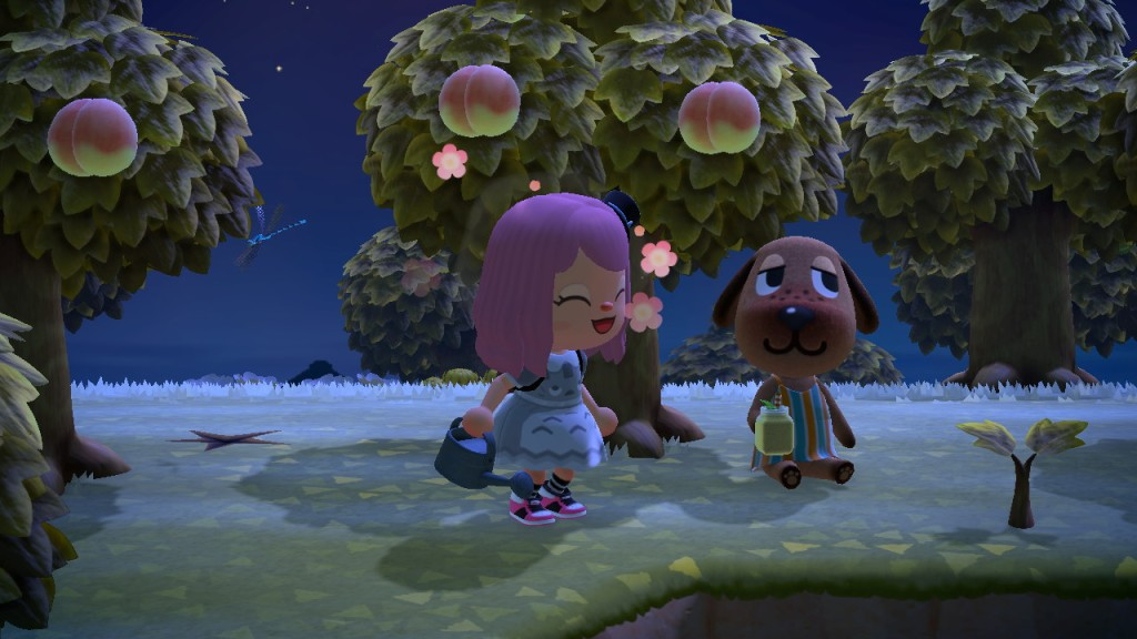 An image from Megan's Animal Crossing game, showing her character (left) and a villager who is a dog (right) among peach trees