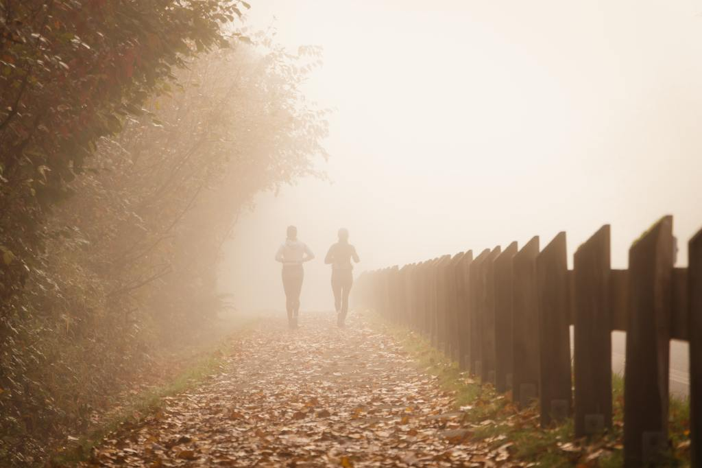 Two people running on misty outdoor path covered in leaves.